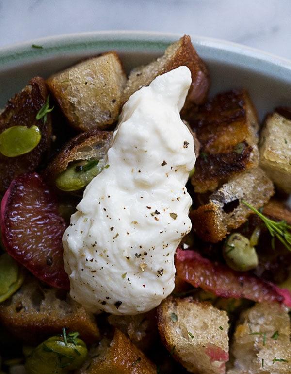 Fava Bean Panzanella Salad