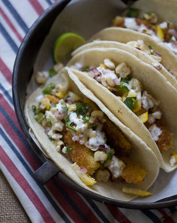 Fried Summer Squash Tacos with Charred Corn Salsa