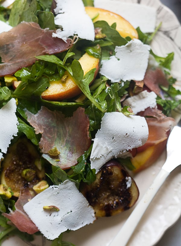 Dinner for One: Grilled Fig and Peach Arugula Salad with Ricotta Salata and Prosciutto // www.acozykitchen.com