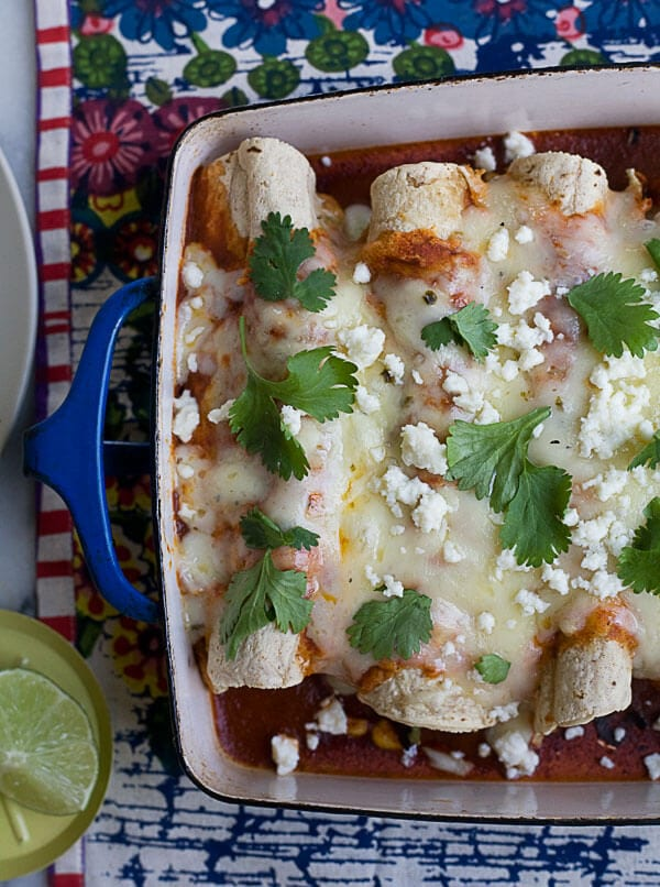 Charred Hatch Chile and Corn Enchiladas // www.acozykitchen.com