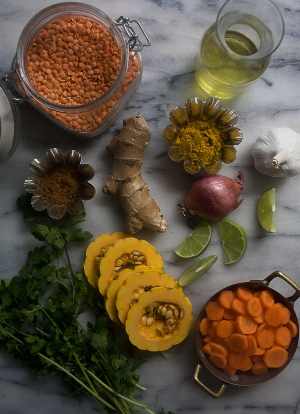 Curried Lentil Soup with Golden Raisins and Delicata Squash // www.acozykitchen.com