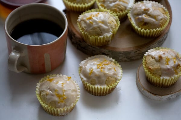 Meyer Lemon Ricotta Muffins with Rosemary Glaze // www.acozykitchen.com