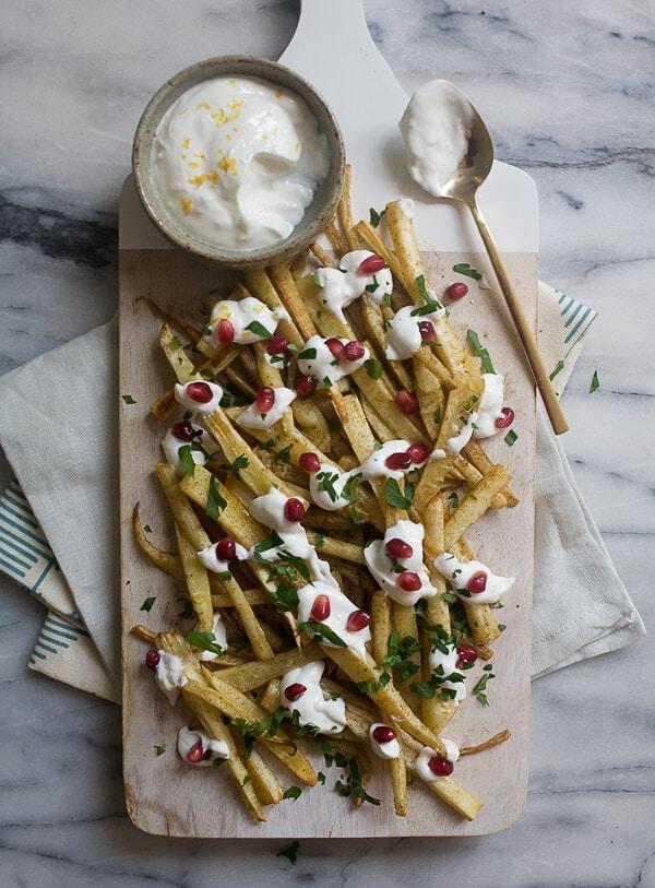 Spiced Parsnip Fries with Roasted Garlic Yogurt // www.acozykitchen.com