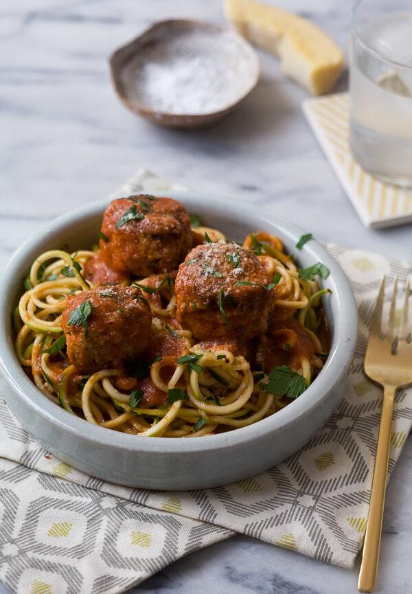 Zucchini Noodles with Turkey Meatballs // www.acozykitchen.com