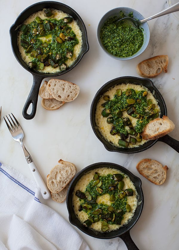 Raclette with Collard Green Pesto, Okra and Lemon