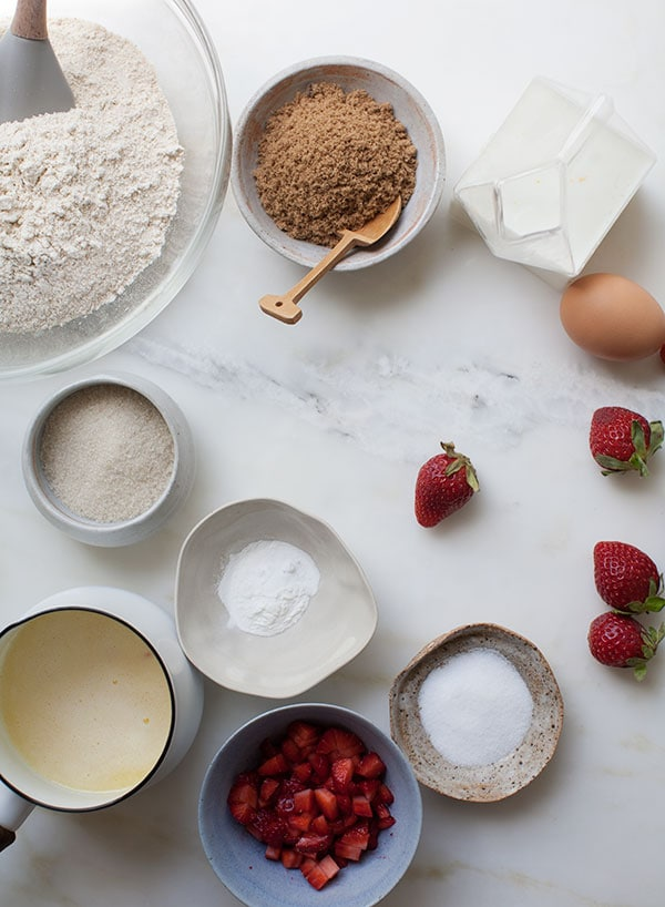 Spelt Strawberry Muffins w/ Rhubarb Butter