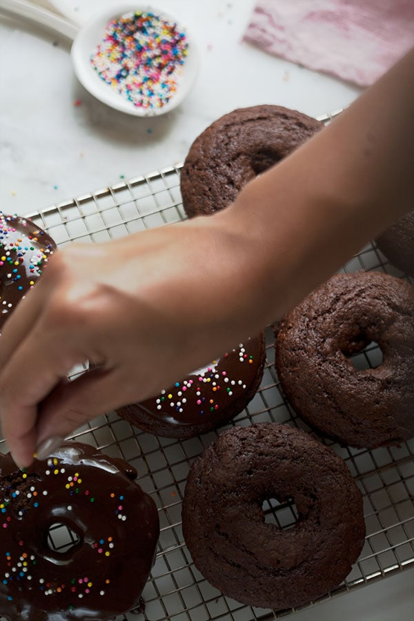 Baked Double Chocolate Cake Doughnuts