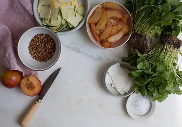 Plum Watercress Salad with Ricotta Salata