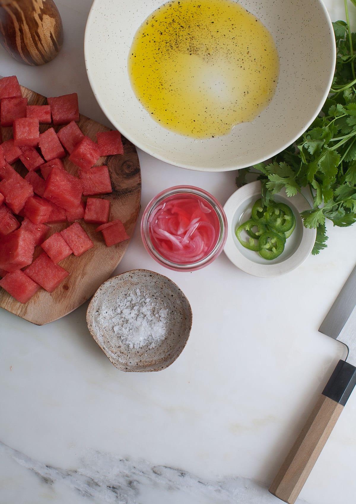 Watermelon Queso Fresco with Cilantro, Queso Fresco and Pickled Red Onion
