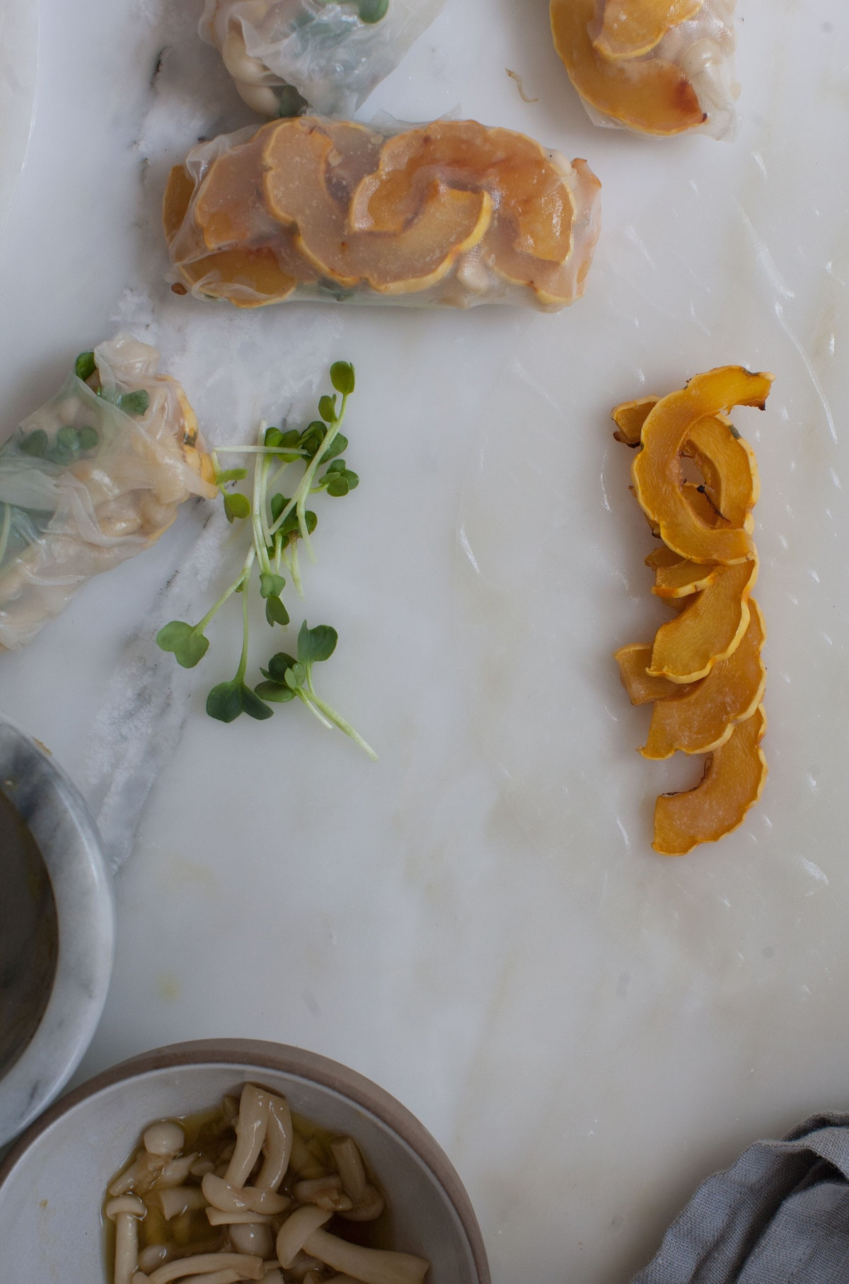 Fall Spring Rolls: Miso-Glazed Delicata Squash, Radish Sprouts and Brown Sugar Mushrooms