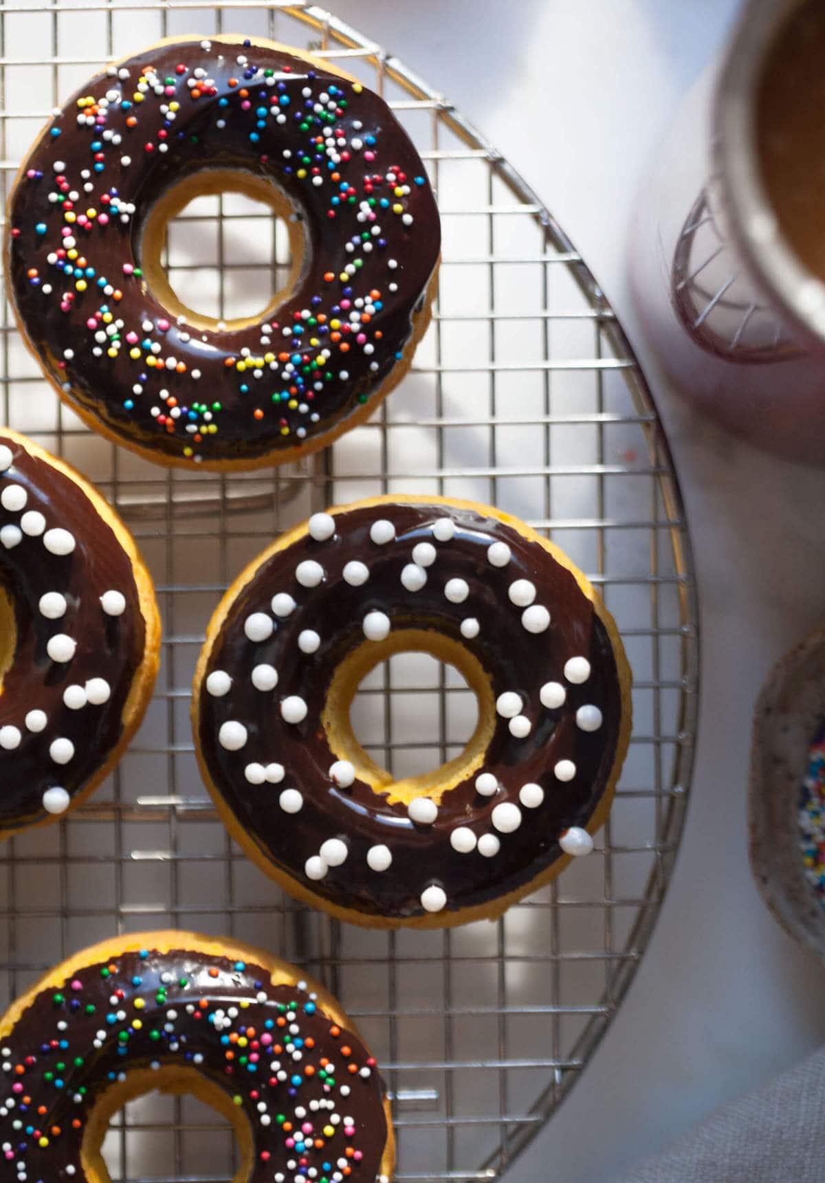 Pumpkin Chocolate Doughnuts