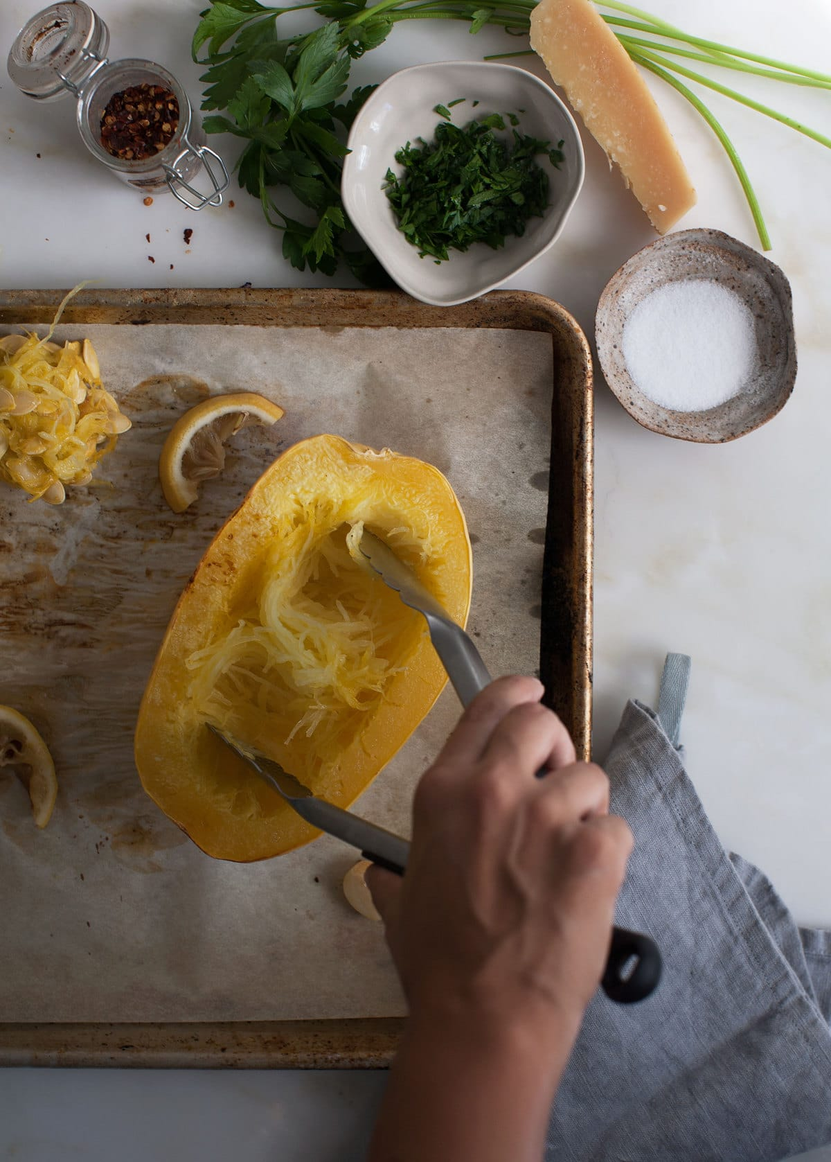 Dinner for One (or Two): Lemon-y Cheesy Spaghetti Squash