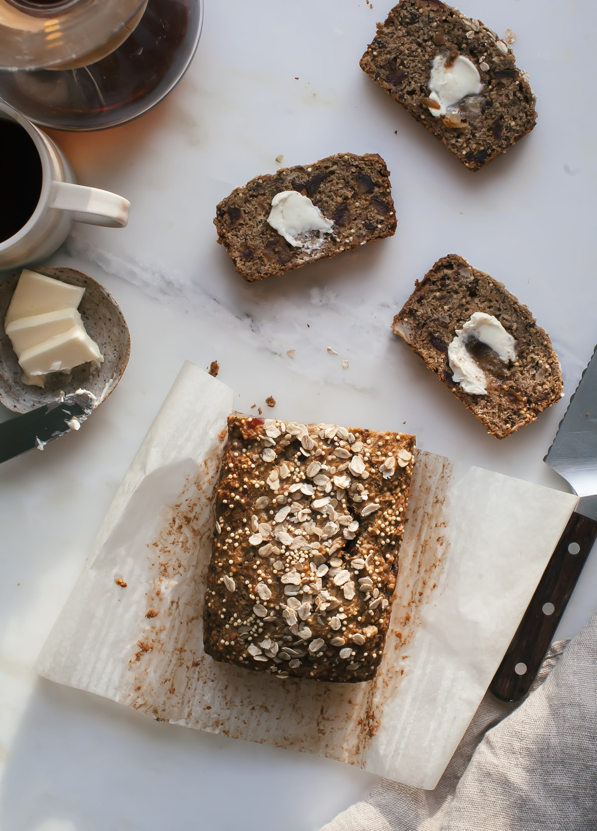 Spelt Oat Date Banana Bread with Cocoa Nibs and Millet Seeds