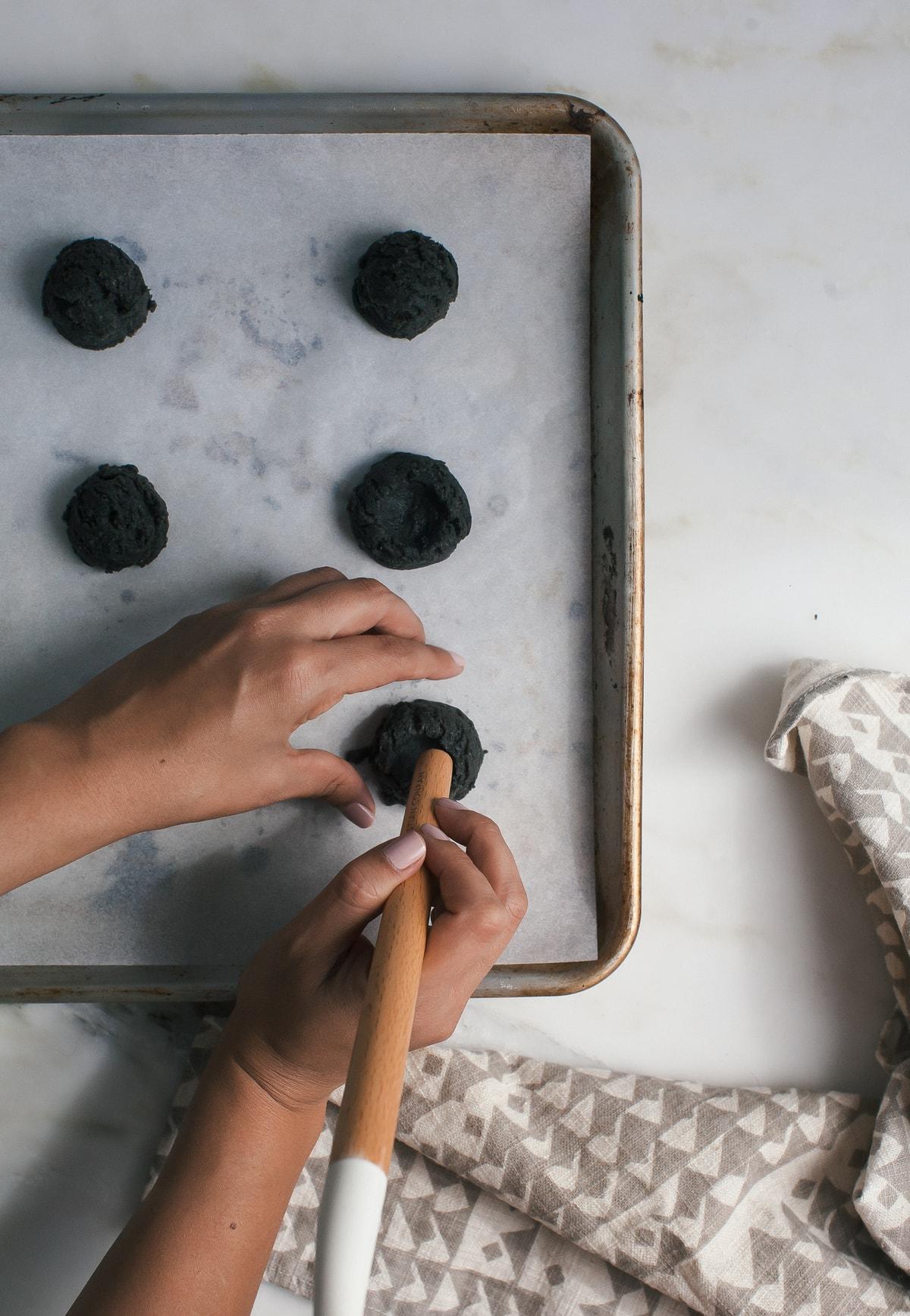 Black Sesame Thumbprint Cookies with Meyer Lemon Curd