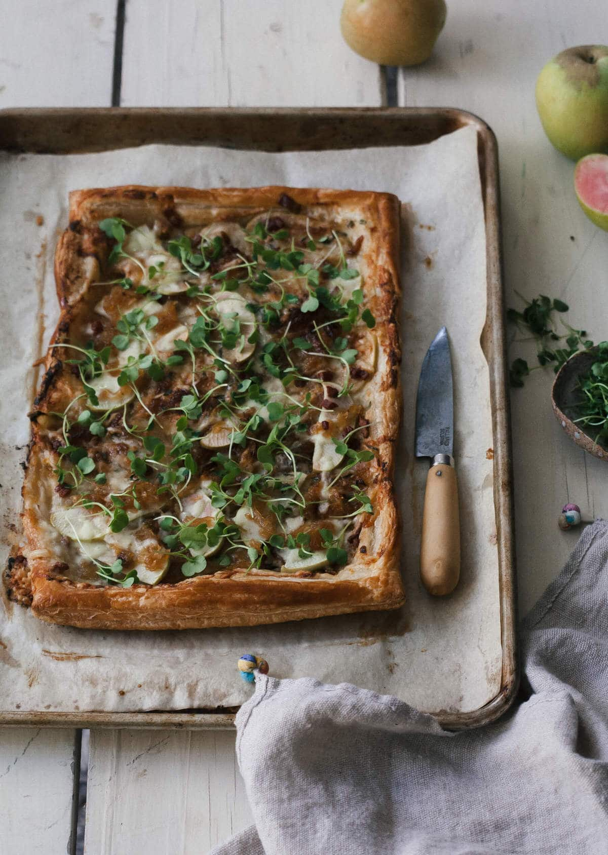 Fancy Apple Gruyere Tart with Caramelized Onions and Pancetta