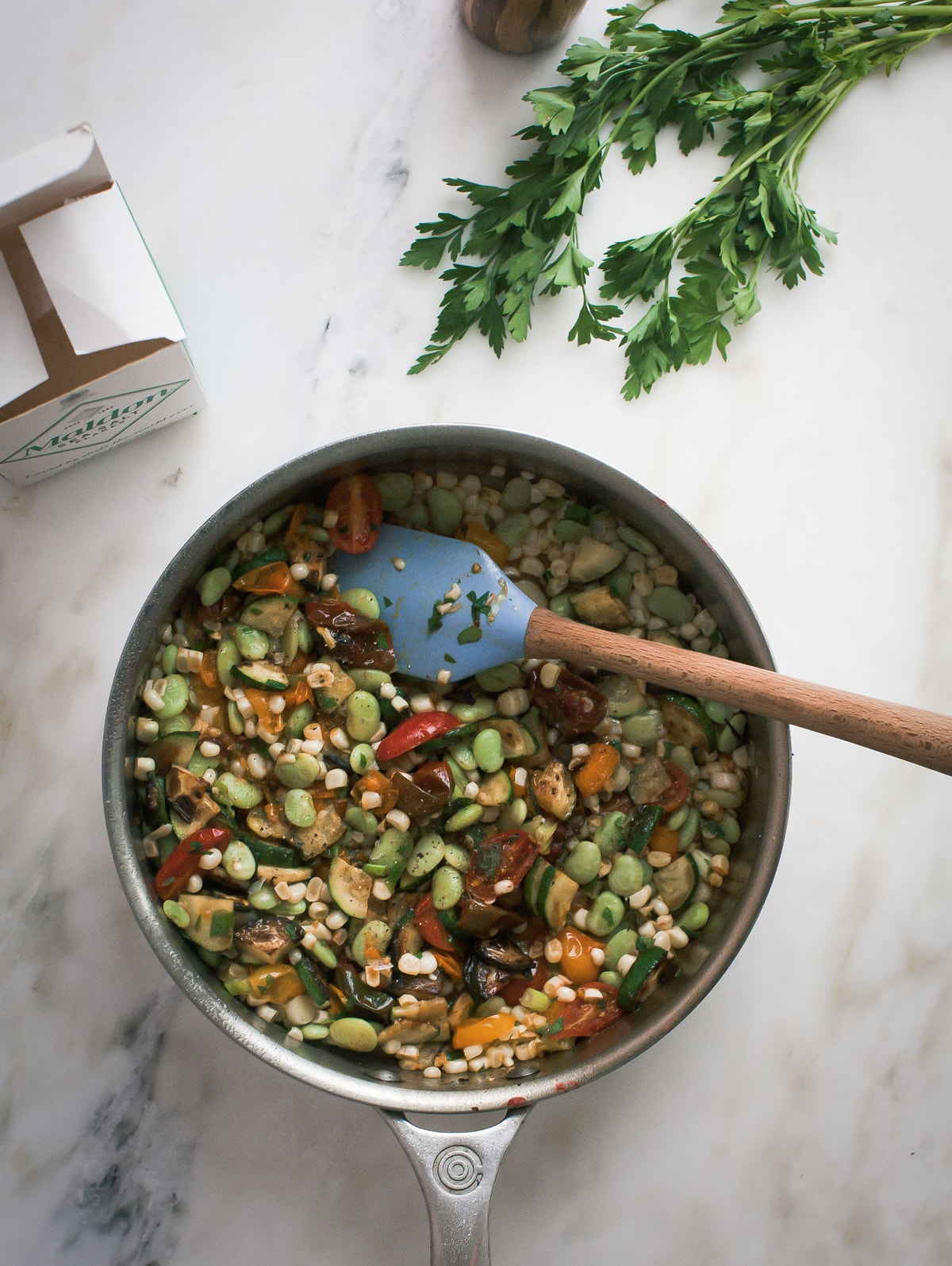 Late-Summer Succotash with White Bean Puree and Brown Butter