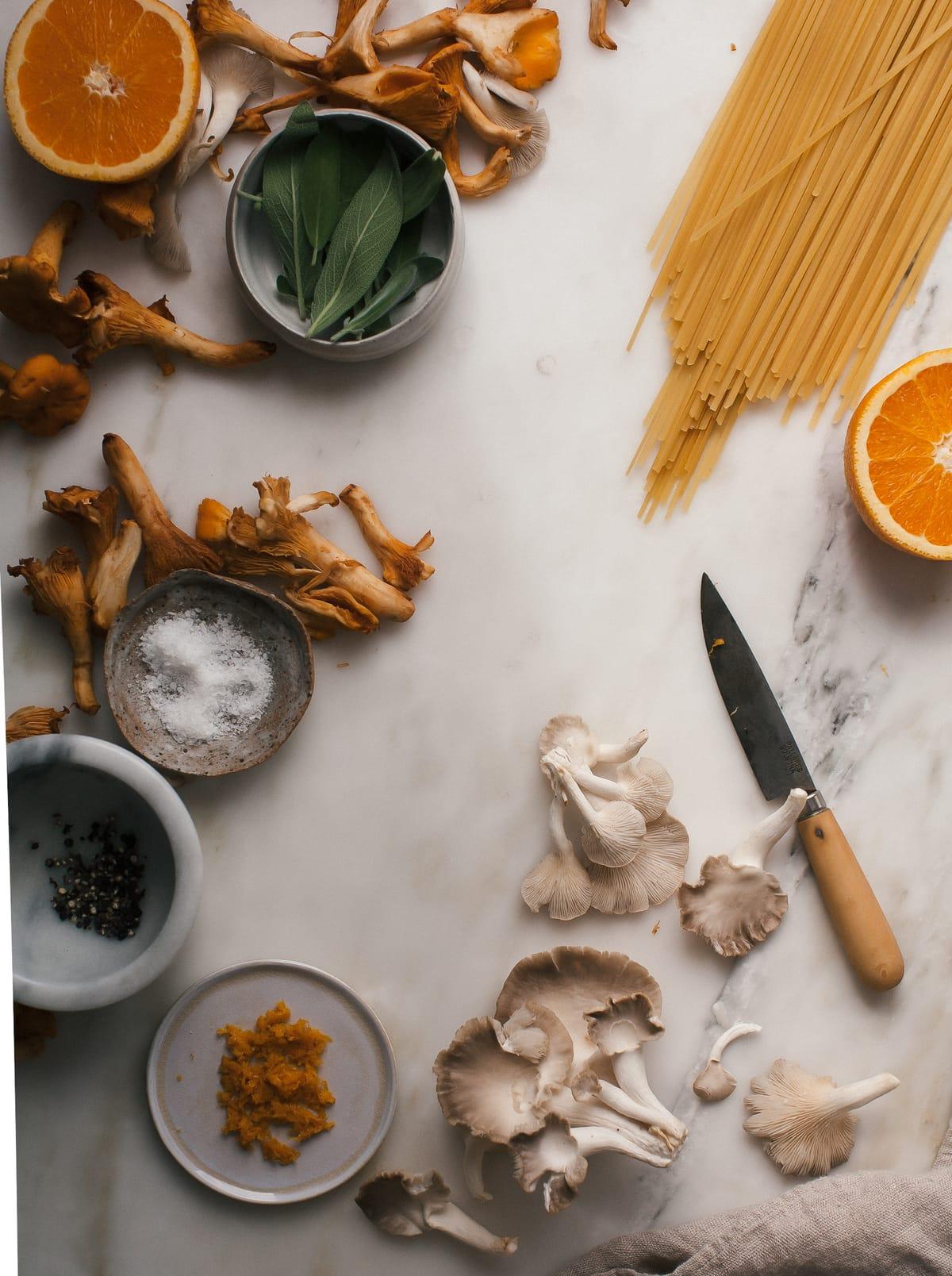 Wild Mushroom Spaghetti with Orange Brown Butter + Crispy Sage